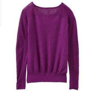 Athleta purple open knit shoulder sweater